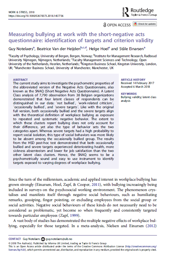 Measuring bullying at work with the short-negative acts questionnaire: identification of targets and criterion validity