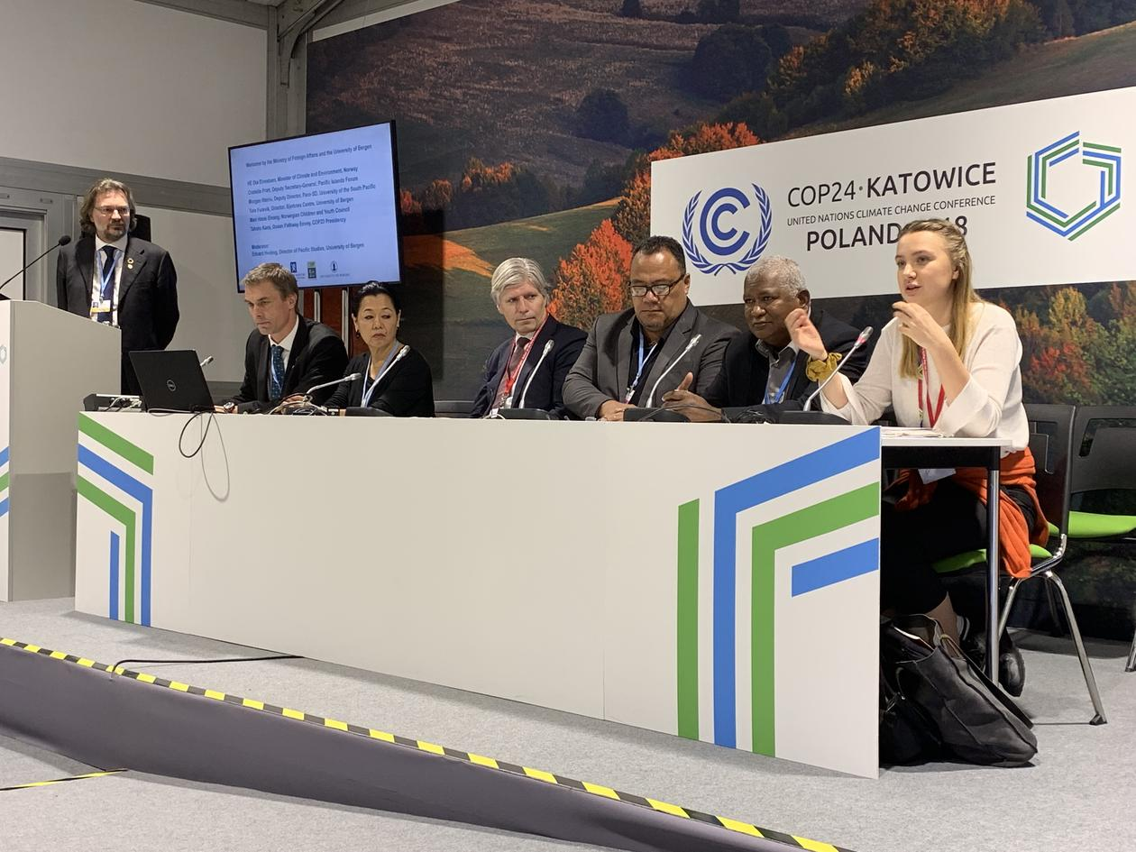 Panel at official Norway side event at the climate summit COP24 in Katowice, Poland, on Friday 14 December 2018.