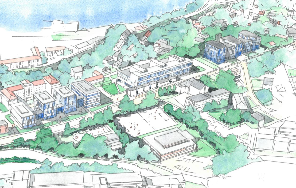 tegning som viser helse Årstadvollen med de nye byggene i Helseklyngen