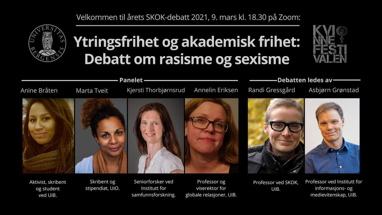 Banner for debatten med tittel, logo, bilder og titler på debattantene