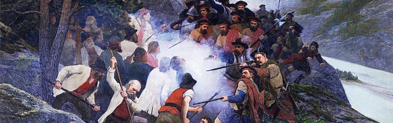 Utsnitt av måleri av Slaget i Kringen i 1612