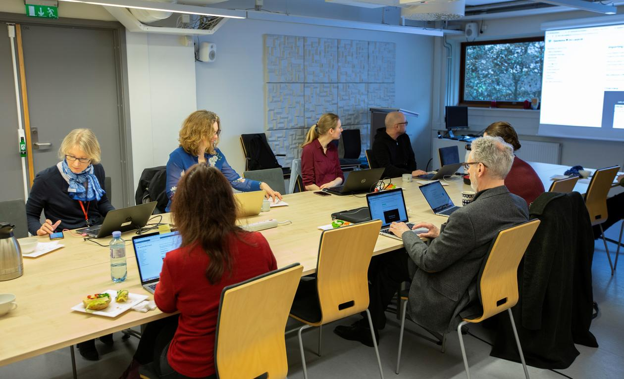 Photo of participants working on their laptopns and looking at Tarje's tutorial.
