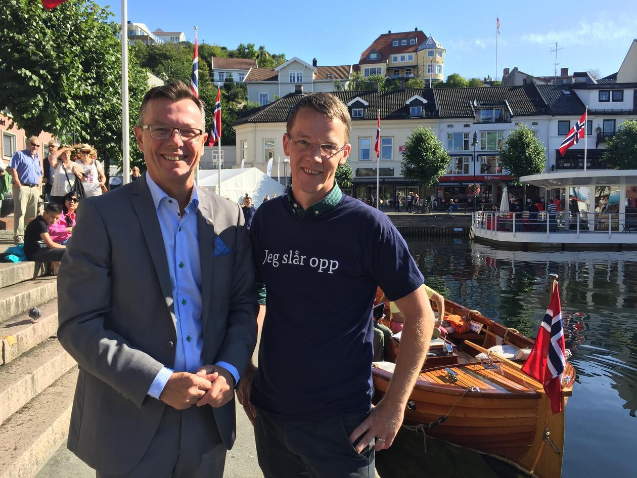 UiB-rektor Dag Rune Olsen og SNL-redaktør Erik Bolstad