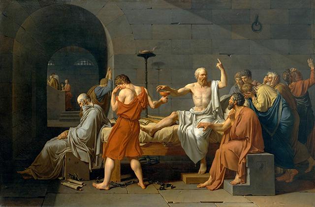 maleri av scene frå Sokrates forsvarstale