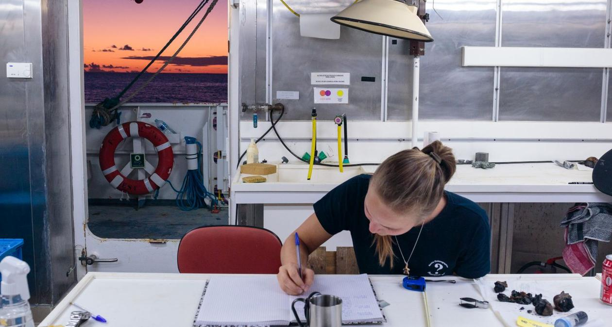 MSc student Solveig Lie Onstad working on samples during a cruise