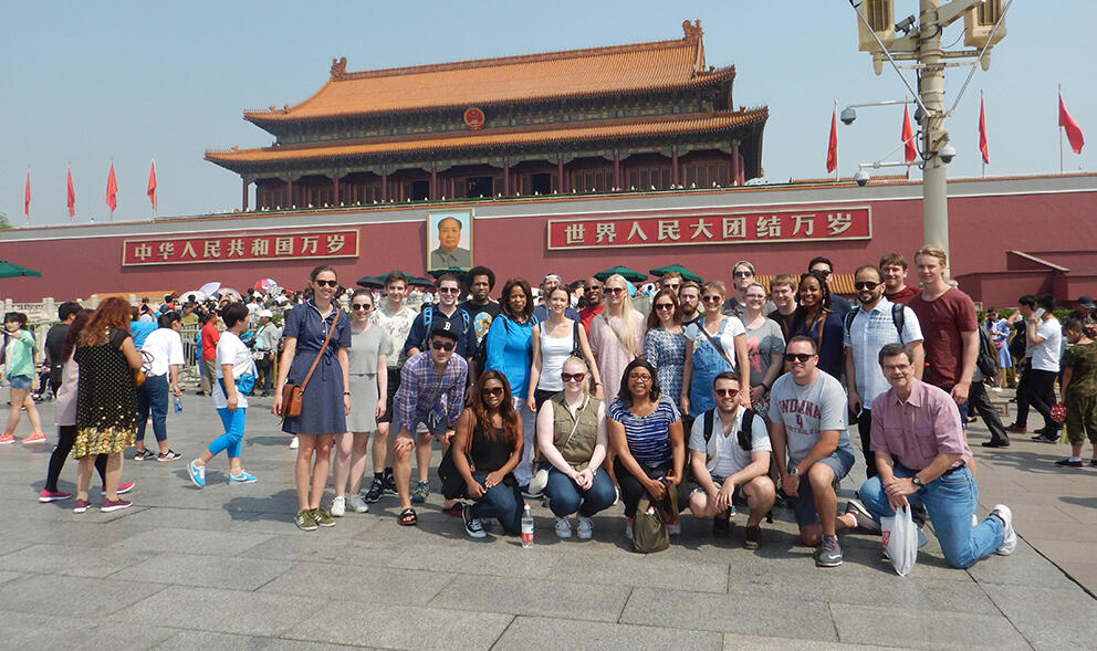 A group of students gathered in Tiananmen Square.