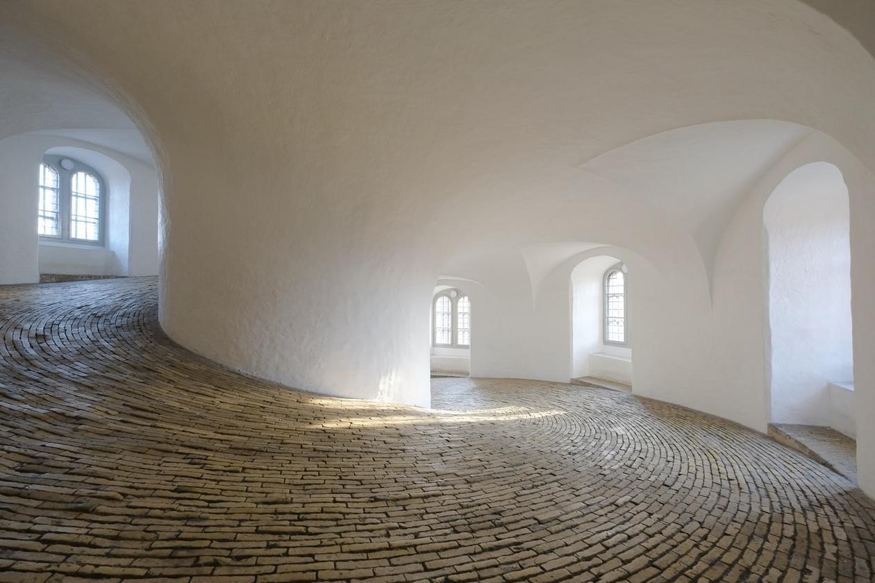 Innvendig i rundetårnet i Danmark