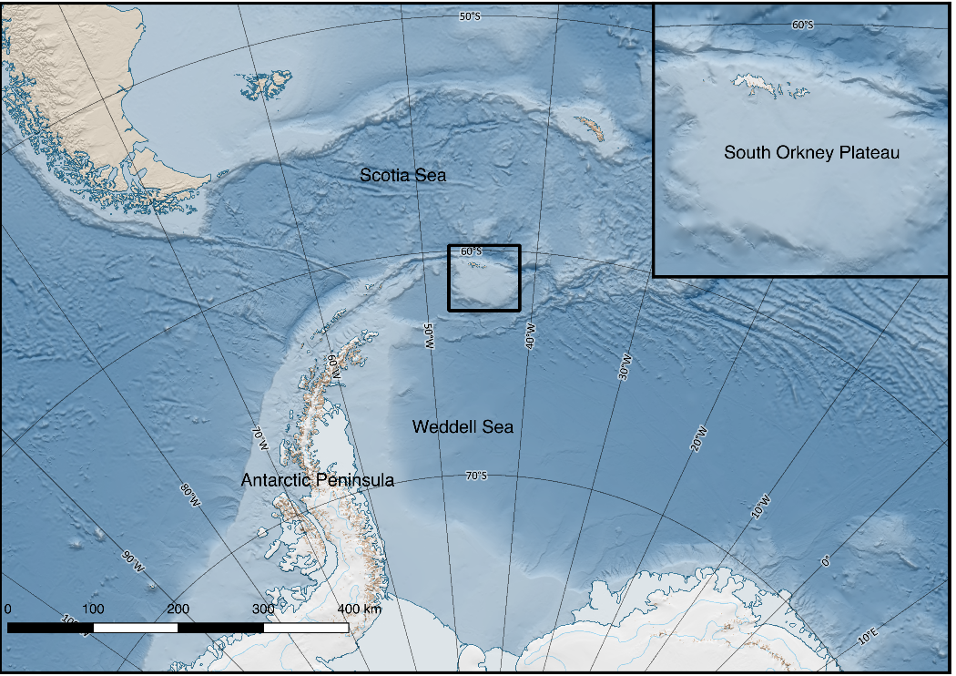 Map of the South Atlantic Ocean and the South Orkney Plateau