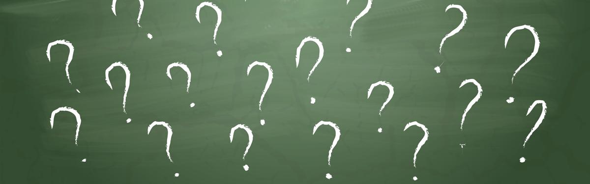 tavle med spørsmålstegn