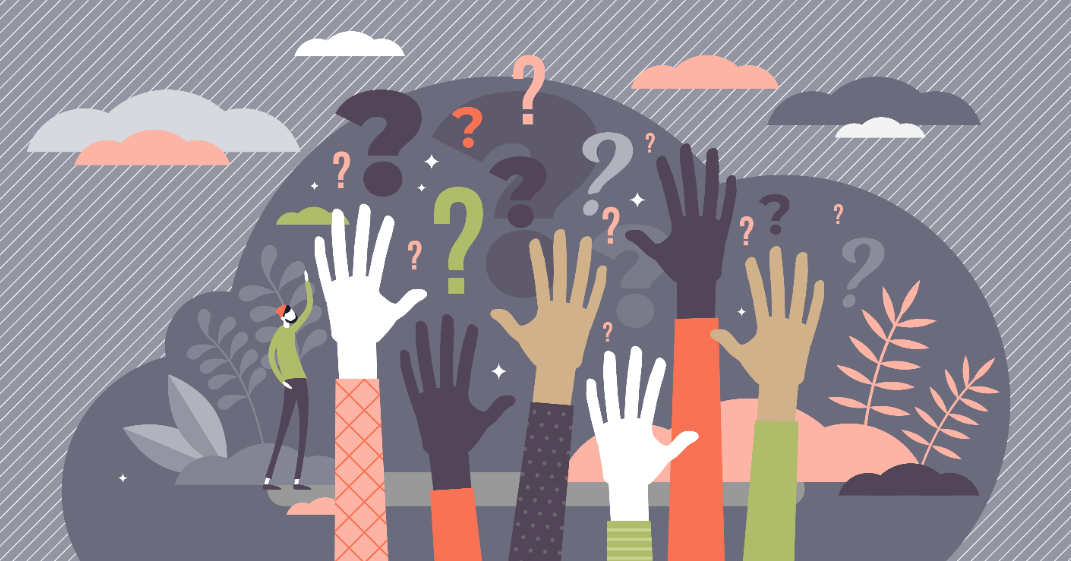 Grafisk illustrasjon spørsmålstegn og hender i været