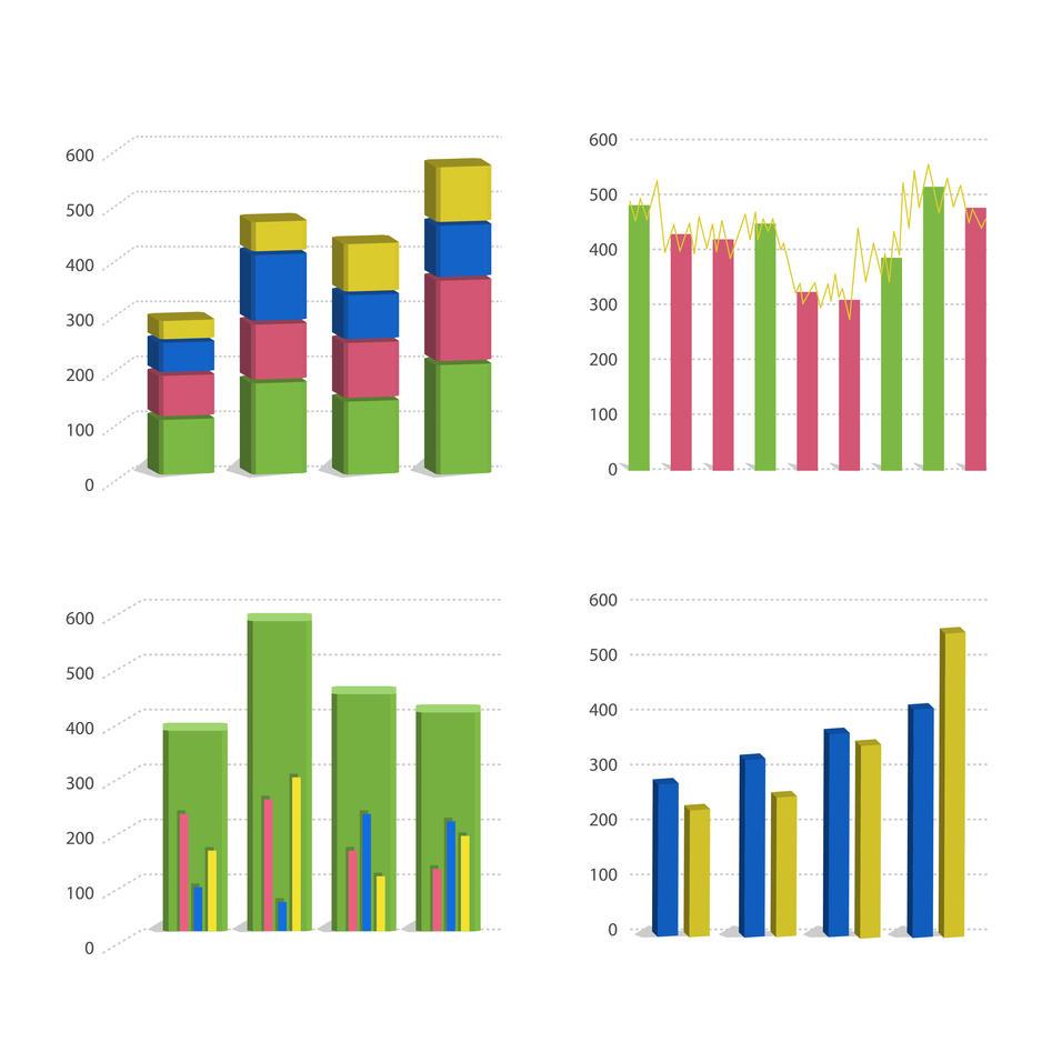 En illustrasjon av ulike grafer og statistikk.