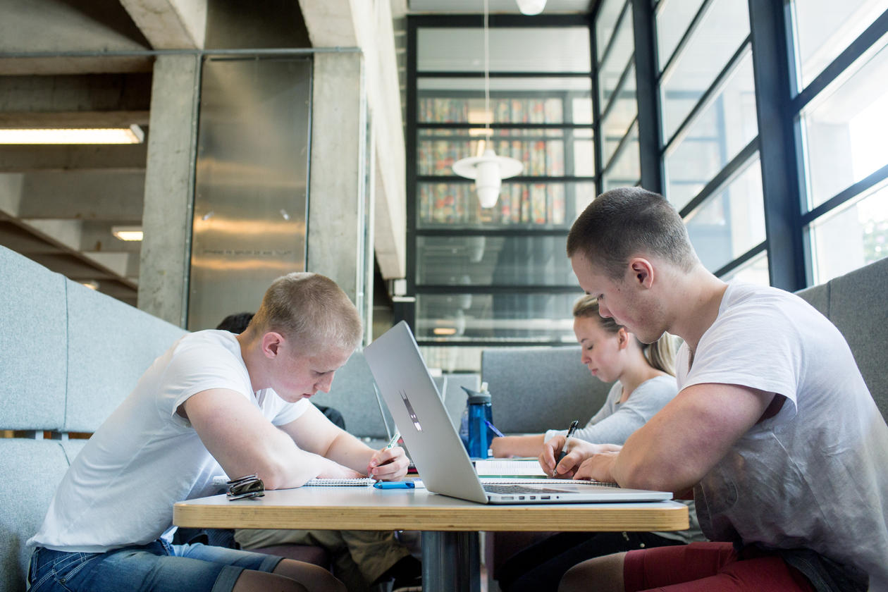 Studenter jobber sammen i Realfagbygget