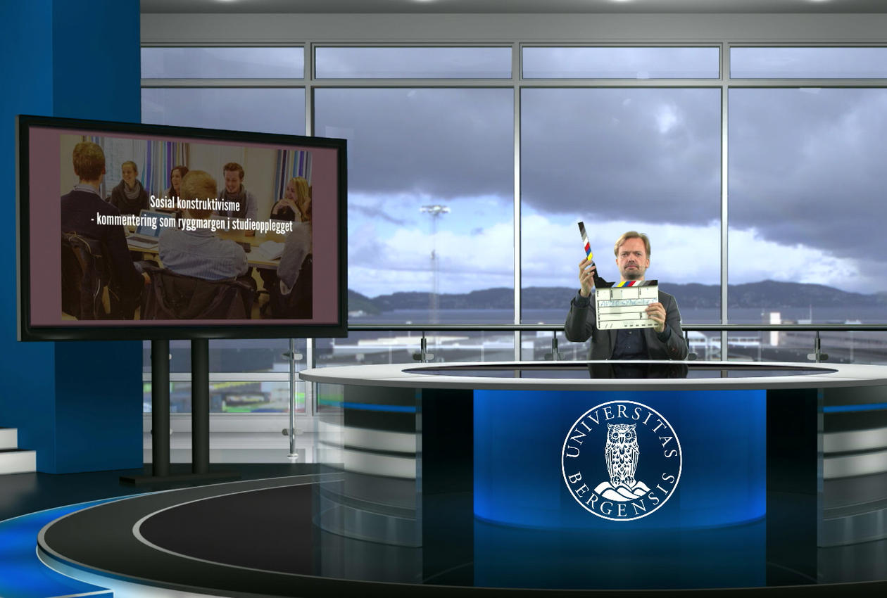 IN THE STUDIO: Knut Martin Tande in the faculty's virtual studio.  Photo:  Dragefjellet Centre of Learning and Communication (DLF)