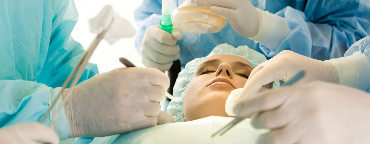 Woman on the surgery table