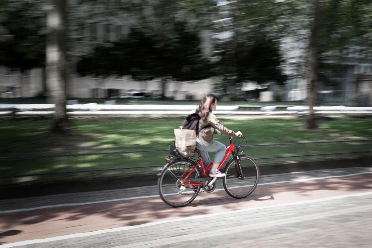 Sykler på tilrettelagt sykkelvei i bygate