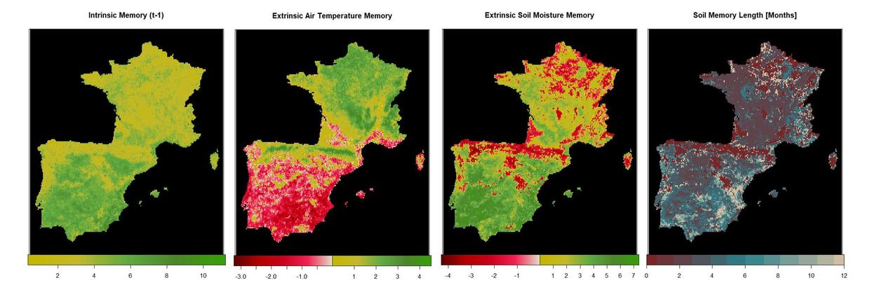 Four maps of south-west Europe showing different components of vegetation memory and response timing