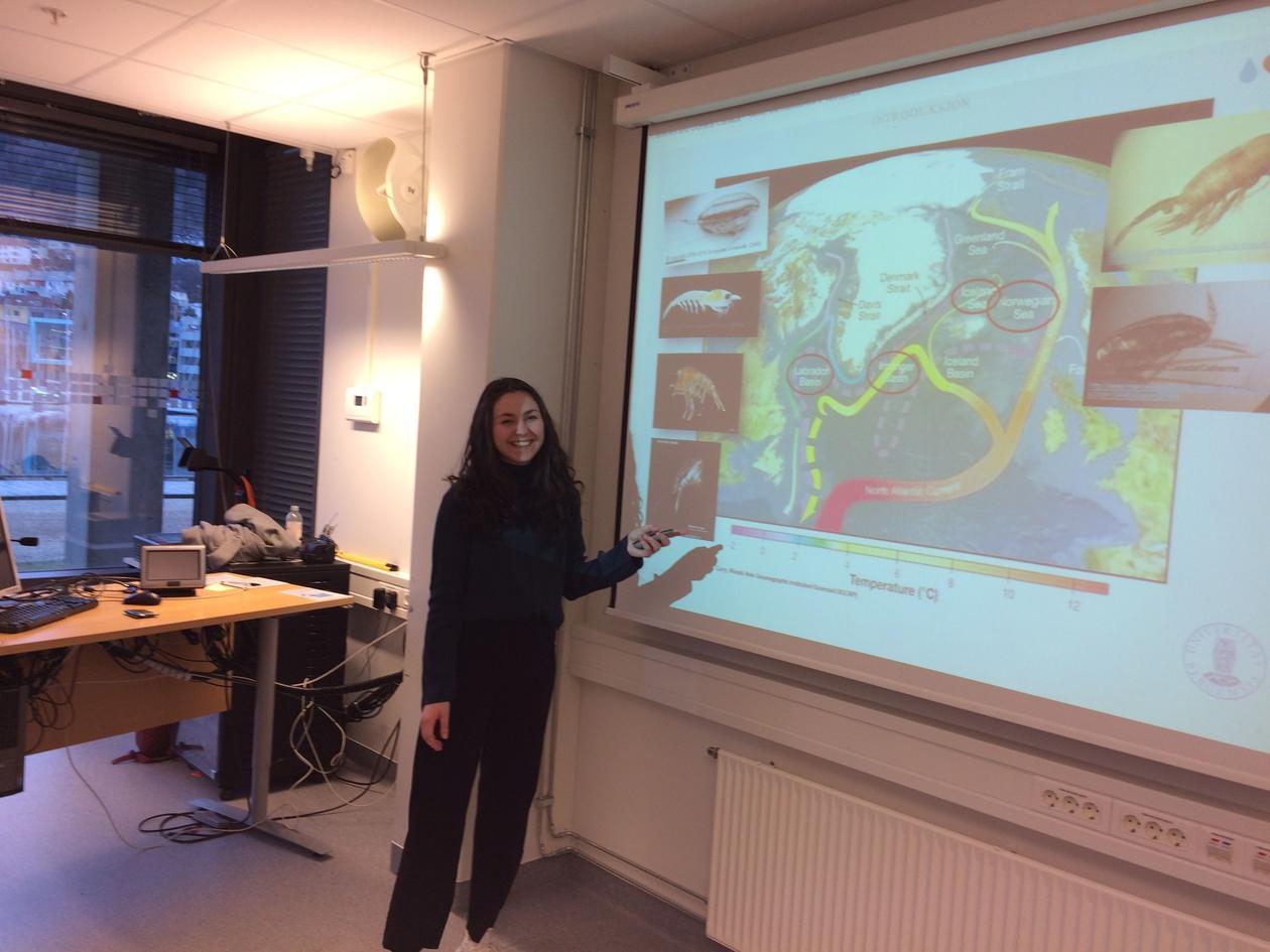 Synne Myhre Sunde presenting her slides