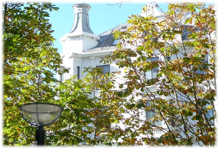 Bildet av tårnet på Sydnesplassen 12/13 i sol og med trær i høstens farger i forkant