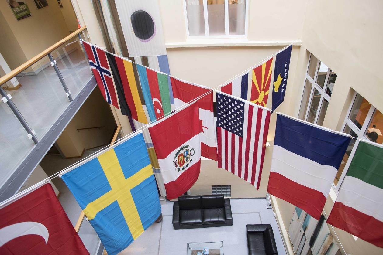 14 flags at the Department of Comparative Politics