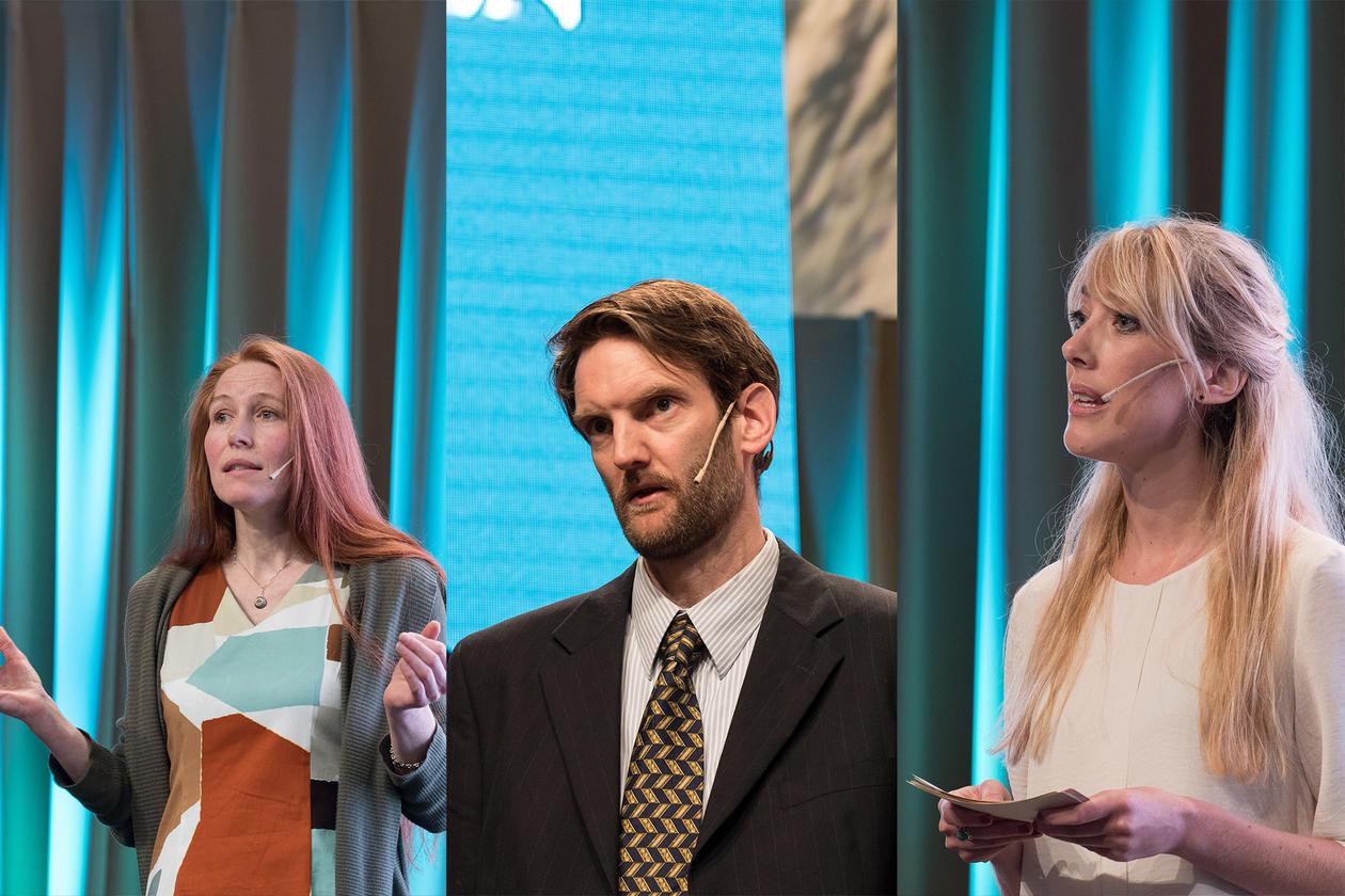 Synnøve Bendixsen, Simon Dankel og Maja Janmyr deltok i Innsikt-delen av programmet