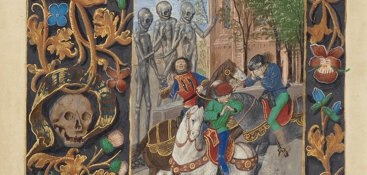 Scener med skjeletter og døde i middelalderen