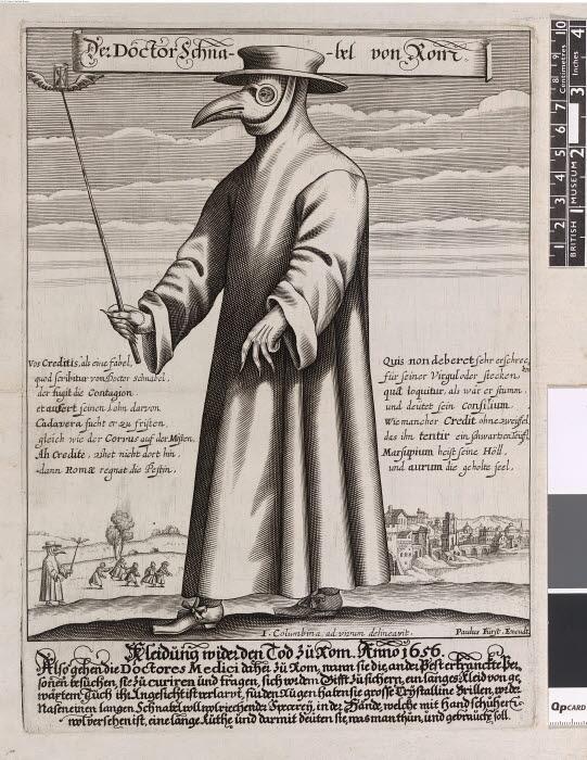Mann med kappe, hatt og nebbformet maske