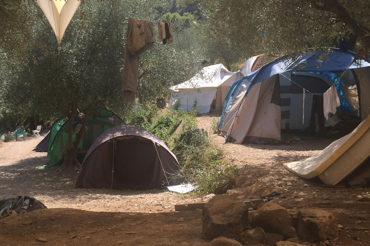 Tent camp on the border between Italy and France