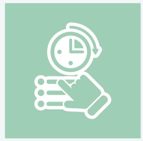 ikon med klokke og hånd over testvalg