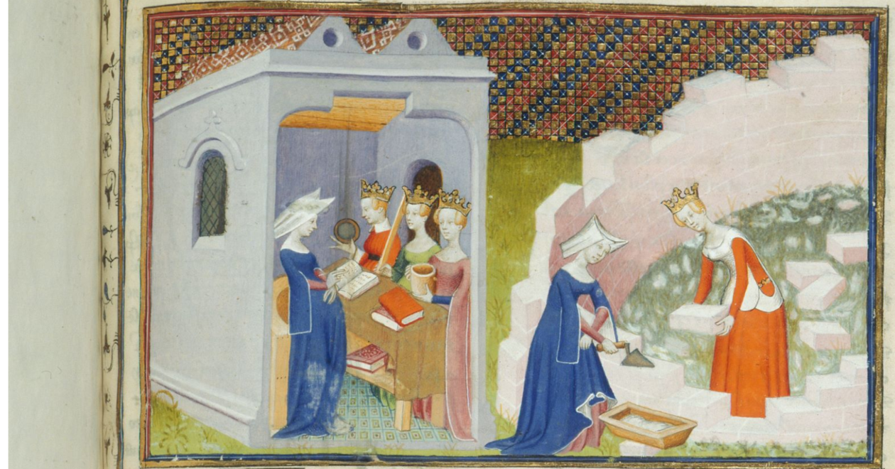 """Illustrasjon fra """"The Book of the City of Ladies"""" som viser adlige kvinner bygge en by"""