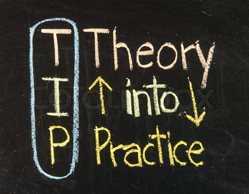 TIP Theory into Practice and vice versa written on a blackboard