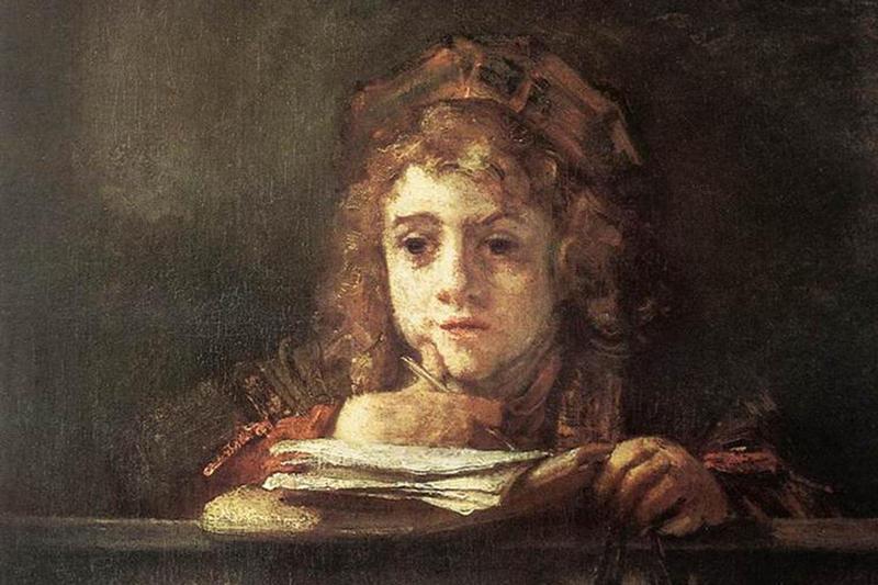 Titus at his reading desk. Rembrandt van Rijn (1655)
