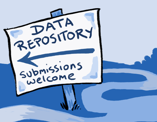 Drawing of a sign showing the way to a Data Repository and stating that submissions are welcome