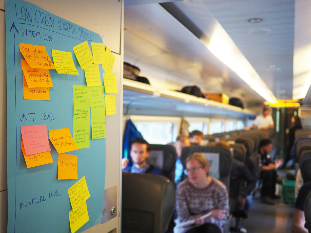 Train carriage with poster and post-it notes