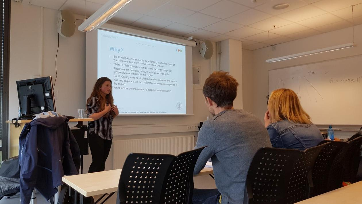 Torborg Rustand presenting her Master thesis