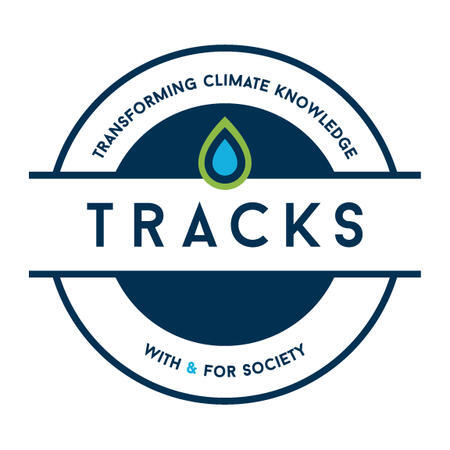 TRACKS logo: TRACKS written in the middle, with a blue and green drop righ over it, on white background over a blue circle. Written over the circle: Transforming Climate Knowledge. Below the circle: With & For Society