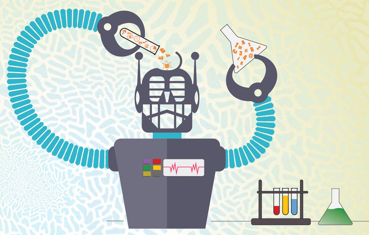 Illustration of a robot putting all sorts of medicine and research in himself for analysis.
