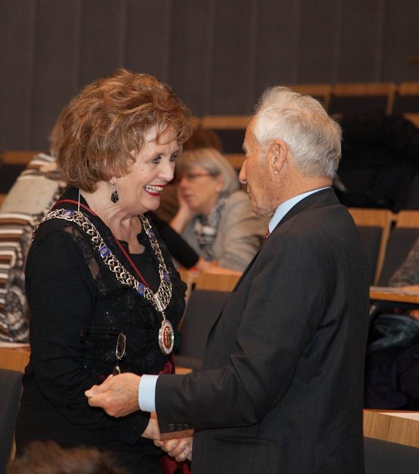 Ordfører Trude Drevland og Christian Rieber