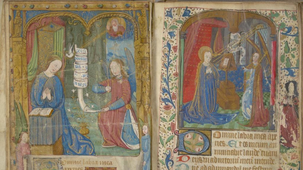 Tegning fra den franske håndskrevne bønneboken MS 504 fra ca 1350.