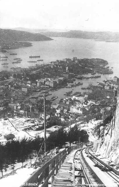 Bilde fra 1918 av Fløibanen, Bergen