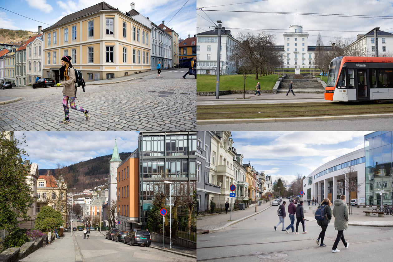 A collage photo showing a student walking in the street, Bybanen passing the Geophiysical institute, streets of Bergen, students walking towards the Student Centre