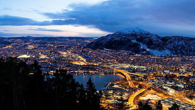 Bergen by night seen from Fløien winter.