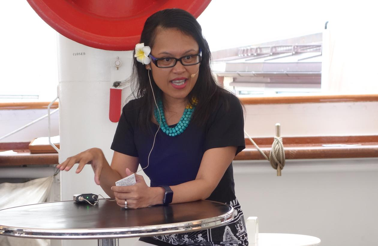 Palau's Ambassador Ngedikes Olai Uludong gives a public lecture onboard the sailship Statsraad Lehmkuhl in Arendal, Norway on 15 August 2018.