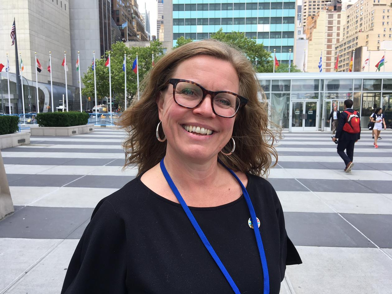 Vice-Rector for Global Relations Annelin Eriksen outside the UN building during the high-level political forum in July 2018.