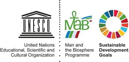 Logos for UNESCO (each letter as a pillar of a pavillion), Man & Biosphere (linked green letters MAB), and Sustainable Development Goals (circle of 17 coloured sections)