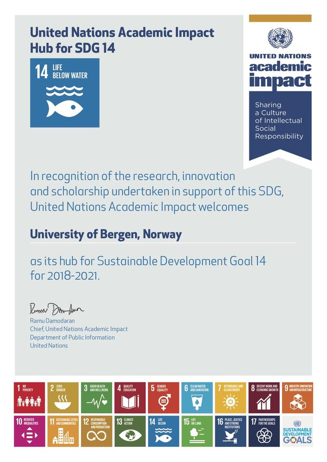 The official October 2018 letter announcing that the University is the SDG 14 Hub on Life Below Water for United Nations Academic Impact.
