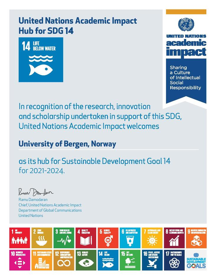 Certificate showing the University of Bergen as the SDG14 Hub for United Nations Academic Impact for the period 2021-2024.