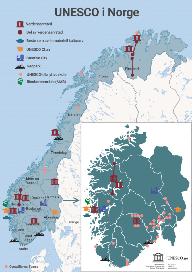 Map showing UNESCO initiatives in Norway and their locations.