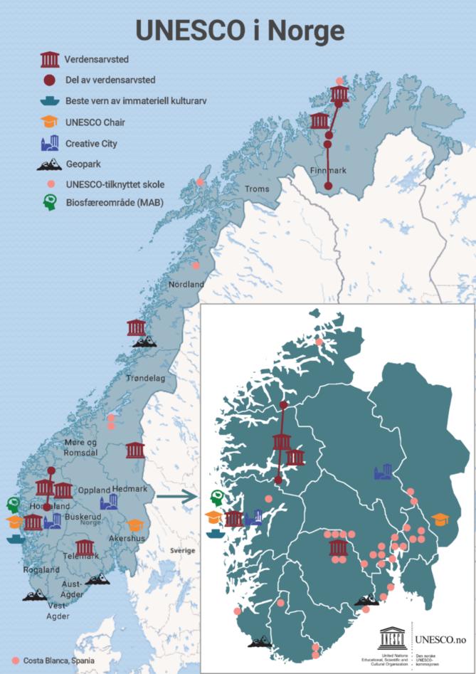 Oversiktskart over UNESCO-relaterte prosjekter i Norge.