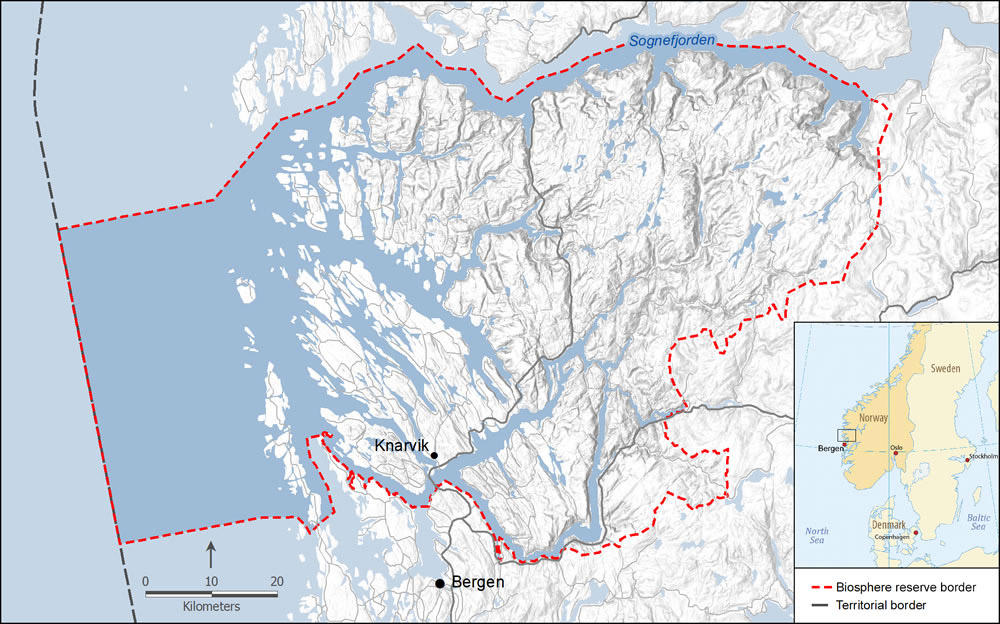 Map of proposed Nordhordaland Man and Biosphere area in western Norway with an inset map of Scandinavia