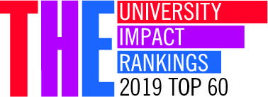 THE University Impact Rankings logo, indicating that the University of Bergen is in the top 60 in the inaugural 2019 ranking